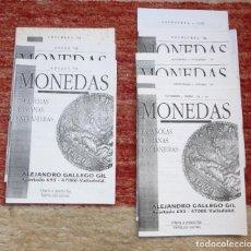 Catálogos y Libros de Monedas: LOTE DE 7 FOLLETOS **ALEJANDRO GALLEGO GIL** MONEDAS ESPAÑOLAS ROMANAS Y EXTRANJERAS.. Lote 71665295