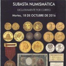 Catálogos y Libros de Monedas: CATALOGO NUMISMATICA - MONEDAS, MEDALLAS, BILLETES - SUBASTA SOLER LLACH MARTI HERVERA OCTUBRE 2016. Lote 71956023