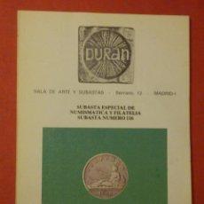 Catálogos y Libros de Monedas: CATÁLOGO SUBASTA EXTRAORDINÁRIA - SALA DE ARTE DURAN Nº 116 - FEBRERO - AÑO 1979. Lote 74163359