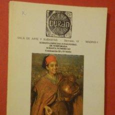 Catálogos y Libros de Monedas: CATÁLOGO SUBASTA EXTRAORDINÁRIA - SALA DE ARTE DURAN Nº 123 - OCTU¡BRE - AÑO 1979. Lote 74163535