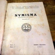Catálogos y Libros de Monedas: NUMISMA. SOCIEDAD IBEROAMERICANA DE ESTUDIOS NUMISMÁTICOS. NUMEROS 1 AL 5, 1951 Y 1952. Lote 79101765