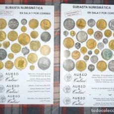 Catálogos y Libros de Monedas: LOTE 6 CATÁLOGOS SUBASTA NUMISMÁTICA **AÚREO CALICÓ** AÑO 2016. Lote 79610085