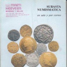 Catálogos y Libros de Monedas: CATALOGO MARTI HERVERA MARZO 1995. Lote 86873572
