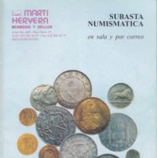 Catálogos y Libros de Monedas: CATALOGO MARTI HERVERA OCTUBRE 1995. Lote 86873644