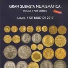 Catálogos y Libros de Monedas: CATALOGO NUMISMATICA MONEDAS MEDALLAS BILLETES SUBASTA SOLER LLACH HERVERA JULIO 2017. Lote 107570383