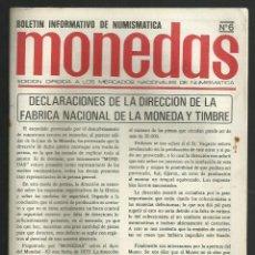 Catálogos y Libros de Monedas: MONEDAS, BOLETÍN INFORMATIVO DE NUMISMATICA, Nº 6. 1980. FRAUDE FABRICA NACIONAL DE MONEDA Y TIMBRE. Lote 116998271