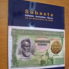 Catálogos y Libros de Monedas: CATALOGO CAYON SUBASTAS BILLETES MONEDAS Y LIBROS 2003. Lote 125829726