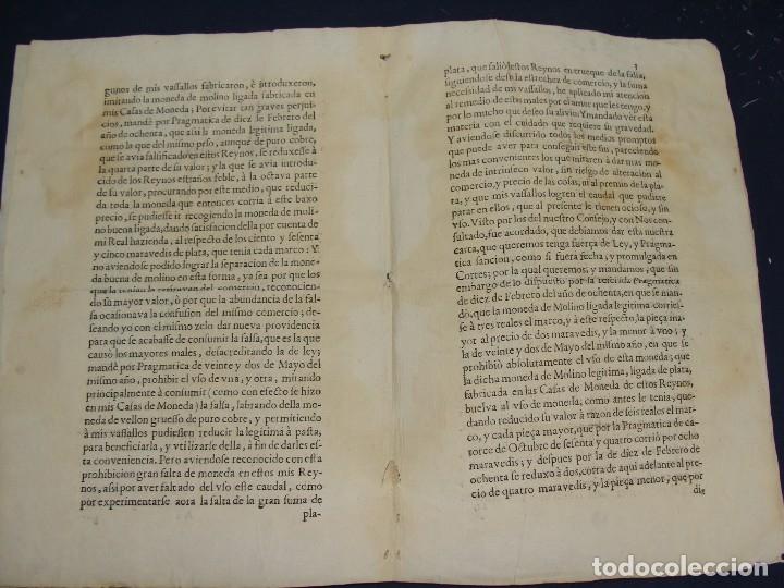 Catálogos y Libros de Monedas: 1684. PRAGMATICA QUE MANDA QUE LA MONEDA DE MOLINO LEGITIMA VUELVA A CORRER. - Foto 4 - 125306835