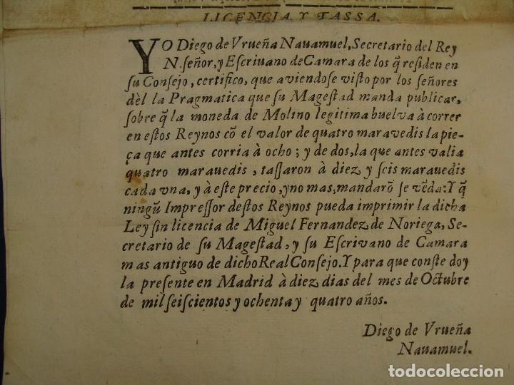 Catálogos y Libros de Monedas: 1684. PRAGMATICA QUE MANDA QUE LA MONEDA DE MOLINO LEGITIMA VUELVA A CORRER. - Foto 9 - 125306835