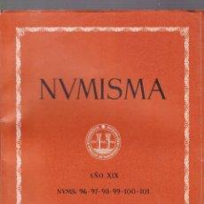 Catálogos y Libros de Monedas: NUMISMATICA - Nº 96-97-98-99-100-101 - ENERO/DICIEMBRE 1969 - NUMISMA AÑO XIX / ILUSTRADO. Lote 127233743