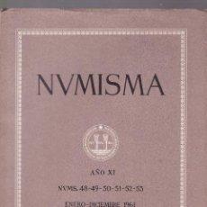 Catálogos y Libros de Monedas: NUMISMATICA - Nº 48-49-50-51-52-53 - ENERO/DICIEMBRE 1959 - NUMISMA AÑO XI / ILUSTRADO. Lote 127235075