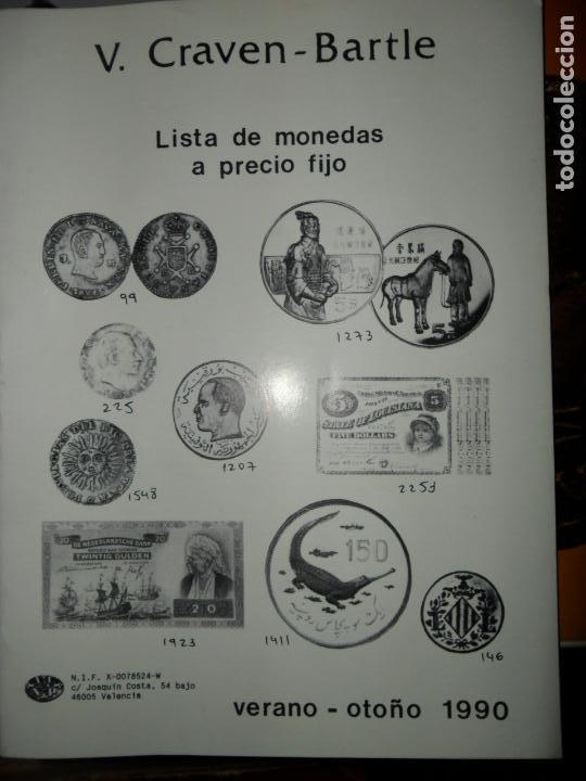 LISTAS DE MONEDAS Y BILLETES A PRECIO FIJO, VERANO-OTOÑO 1990, V. CRAVEN-BARTLE (Numismática - Catálogos y Libros)