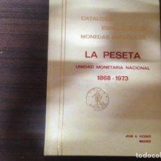 Catálogos y Libros de Monedas: ANTIGUO LIBRO CATALOGO MONEDAS LA PESETA UNIDAD MONETARIA NACIONAL 1868 1973 JOSE A. VICENTI. Lote 135351958