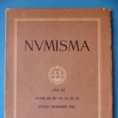 Catálogos y Libros de Monedas: NUMISMATICA - Nº 48-49-50-51-52-53 - ENERO/DICIEMBRE 1961 - NUMISMA AÑO XI. Lote 135436850