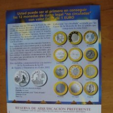 Catálogos y Libros de Monedas: FOLLETO ADQUISICION MONEDAS 1 EURO DE LOS 12 PAISES ZONA EURO 2002. Lote 135735471