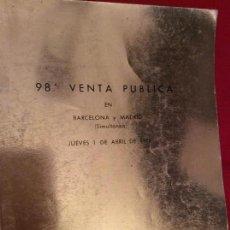 Catálogos y Libros de Monedas: CATALOGO 98A SUBASTA JUAN R . CRAYÓN 01/04/1976. Lote 136296696