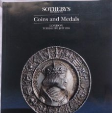 Catálogos y Libros de Monedas: COINS AND MEDALS. TUESDAY 5TH JULY 1994. SOTHEBY'S LONDON. SALE LN4394.. Lote 139454070