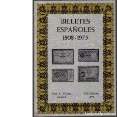 Catálogos y Libros de Monedas: BILLETES ESPAÑOLES 1808-1975. JOSÉ A. VICENTI. Lote 109595059