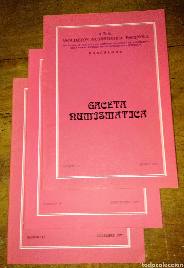 ANE 3 LIBROS GACETA NUMISMÁTICA 1977 (Numismática - Catálogos y Libros)