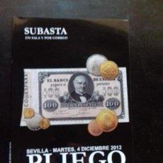 Catálogos y Libros de Monedas: SUBASTA. PLIEGO. DICIEMBRE - 2012. Lote 147689366