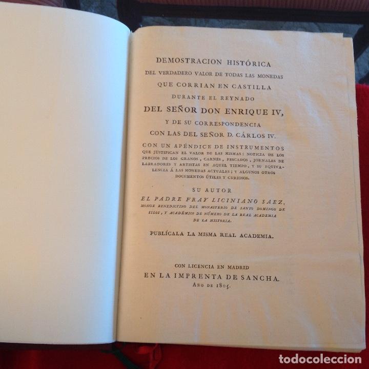 Catálogos y Libros de Monedas: Demostración histórica del verdadero valor de las monedas de Enrique IV, Liciniano Sáez, Madrid,1805 - Foto 2 - 148428978