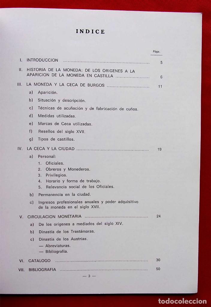 Catálogos y Libros de Monedas: LA CECA DE BURGOS. AÑO: 1983. BUEN ESTADO. ACUÑACIONES DE MONEDA. SIGLOS XI AL XVIII. - Foto 2 - 195326466