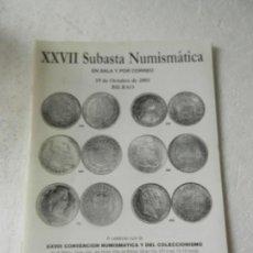 Catalogs and Coin Books - CATALOGO NUMISMATICA LAVIN - XXVII SUBASTA NUMISMATICA BILBAO OCTUBRE 2001. - 150146666