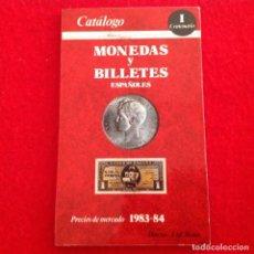 Catálogos y Libros de Monedas: CATALOGO DE MONEDAS Y BILLETES ESPAÑOLES, CENTENARIO, EDIC 1983-84, ALEDON EDICIONES, 95 PAG.. Lote 151292026