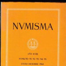 Catálogos y Libros de Monedas: NUMISMATICA - Nº 90-91-92-93-94-95 - ENERO/DICIEMBRE 1968 - NUMISMA AÑO XVIII / ILUSTRADO . Lote 161234070