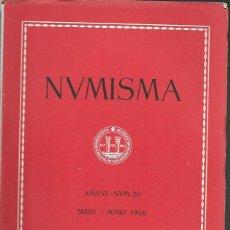 Catálogos y Libros de Monedas: NUMISMA. AÑO VI. NÚM. 20. MAYO-JUNIO 1956. Lote 166511542