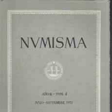 Catálogos y Libros de Monedas: NUMISMA. AÑO II. NÚM. 4. JULIO-SEPTIEMBRE 1952. Lote 166511546