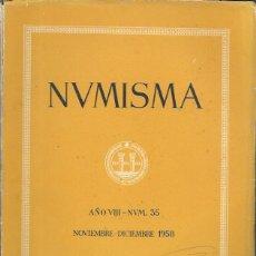 Catálogos y Libros de Monedas: NUMISMA. AÑO VIII. NÚM. 35. NOVIEMBRE-DICIEMBRE 1958. Lote 166511554