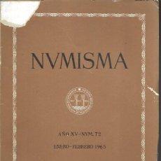Catálogos y Libros de Monedas: NUMISMA. AÑO XV. NÚM. 72. ENERO-FEBRERO 1965. Lote 166511574
