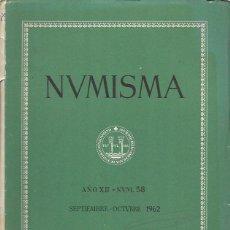 Catálogos y Libros de Monedas: NUMISMA. AÑO XII. NÚM. 58. SEPTIEMBRE-OCTUBRE 1962. Lote 166511730