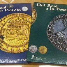 Catálogos y Libros de Monedas: DEL REAL A LA PESETA. TOMO 1 TOMO 2 FNMT VACIOS. Lote 167894752