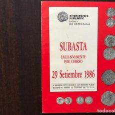 Catálogos y Libros de Monedas: SUBASTA POR CORREO. NUMISMÁTICA SABADELL. Lote 167970722