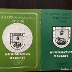 Catálogos y Libros de Monedas: NUMISMÁTICA MAGERIT. SUBASTAS. DOS LIBROS. Lote 167972137