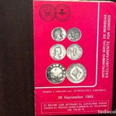 Catálogos y Libros de Monedas: NUMISMÁTICA SABADELL 30 SEPTIEMBRE 1985. Lote 167972273