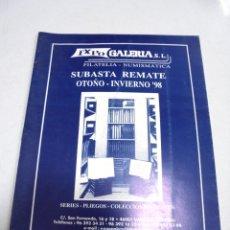 Catálogos y Libros de Monedas: CATALOGO. EXPO GALERIA. FILATELIA - NUMISMATICA. SUBASTA REMATE. OTOÑO - INVIERNO. 1998. Lote 179375315