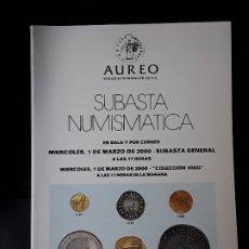 Catálogos y Libros de Monedas: CATALOGO SUBASTA AUREO. MARZO 2000. Lote 180339130