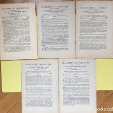 Catálogos y Libros de Monedas: 5 BOLETINES REVISTA: NUMISMATIC LITERATURE (NEW YORK, 1947-48) NºS 1-5 ¡COLECCIONISTA!. Lote 182169541