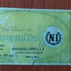 Catálogos y Libros de Monedas: ANTIGUO ( CERTIFICADO NUMISMÁTICA IBÉRICA , GARANTÍA ). MÁS ARTÍCULOS NUMISMÁTICA EN MI PERFIL.. Lote 182558936