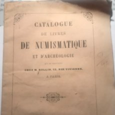 Catálogos y Libros de Monedas: CATALOGUE NUMISMATIQUE. PARIS 1860. Lote 184877286