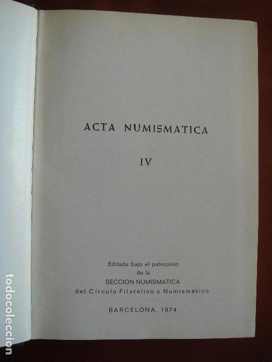 Catálogos y Libros de Monedas: ACTA NUMISMÁTICA IV, 1974, libro 4 - Foto 4 - 194008751