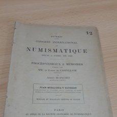 Catálogos y Libros de Monedas: EXTRACTO MEDALLAS DE TOLEDO DEL COMGRESO DE NUMISMATICA DE PARIS. Lote 194107900