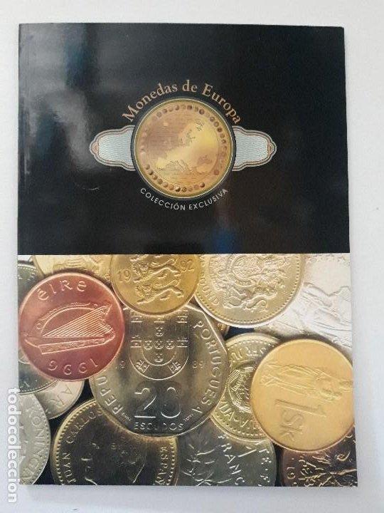 ALBUM MONEDAS DE EUROPA, TIPO LIBRO CON HISTORIA DE LAS MONEDAS Y 40 REPLICAS DE MONEDAS DE EUROPA (Numismática - Catálogos y Libros)