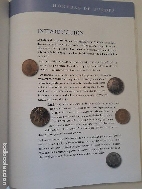 Catálogos y Libros de Monedas: Album monedas de europa, tipo libro con historia de las monedas y 40 replicas de monedas de Europa - Foto 3 - 194898210