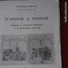 Cataloghi e Libri di Monete: DAXOUM A GONDAR. MONNAIES ET MANUSCRITS ÉTHIOPIENS DE LA B.N. ETIOPÍA AXUM. Lote 198529578