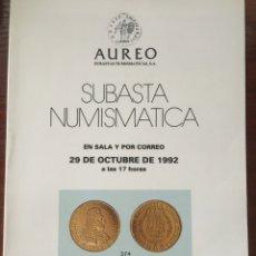Catálogos y Libros de Monedas: CATALOGO SUBASTA AUREO 1992 NUMISMATICA MONEDAS. Lote 201329771