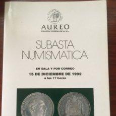 Catálogos y Libros de Monedas: CATALOGO DE SUBASTA AUREO 1992 NUMISMATICA MONEDAS. Lote 201330068